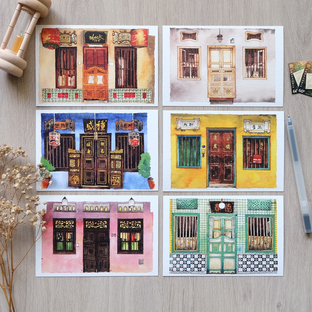 Shop House: Singapore Shophouse Front Door Postcards
